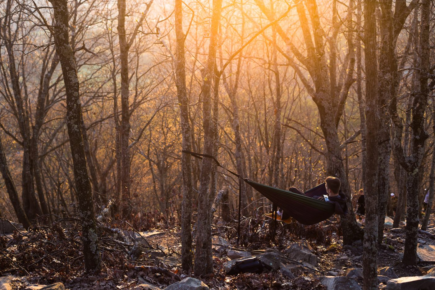 Relaxing in a hammock at Pinnacle Mountain State Park in Arkansas